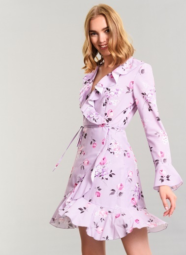 Kruvaze Bağlama Detay Elbise-Agenda